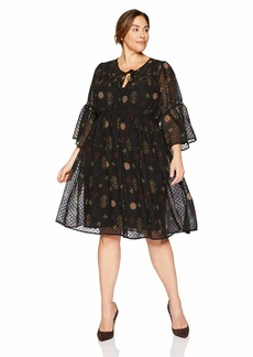Lucky Brand Women's Plus Size Swiss DOT Floral Dress  1X