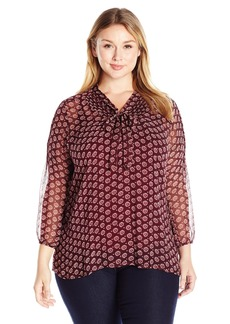 Lucky Brand Women's Plus Size Tie Front Blouse