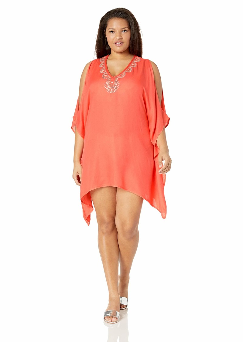 Lucky Brand Women's Plus Size V-Neck Swing Tunic Beach Cover Up hot Coral//Doheny