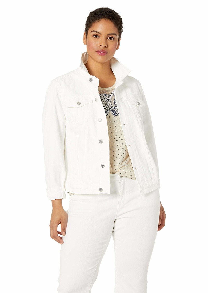 Lucky Brand Women's Plus Size White Denim Tomboy Trucker Jacket Clean