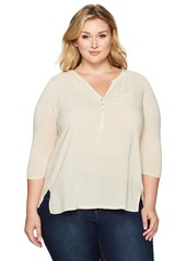 Lucky Brand Women's Plus Size Woven Mixed Top