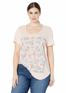 Lucky Brand Women's Plus Sizes Scarf Print TEE