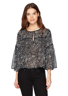 Lucky Brand Women's Printed Bell Sleeve Top  L