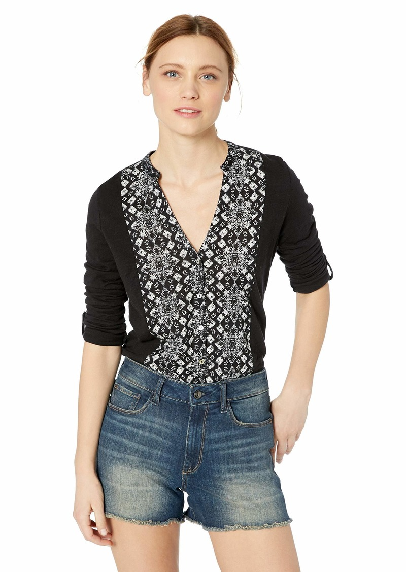 Lucky Brand Women's Printed BIB Button Down TOP  S