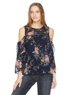 Lucky Brand Women's Printed Cold Shoulder TOP  XS