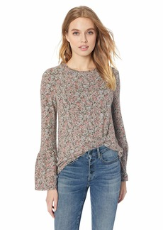 Lucky Brand Women's Printed Hacci Bell Sleeve Peasant TOP  S