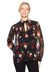 Lucky Brand Women's Printed Keyhole Peasant Blouse  S