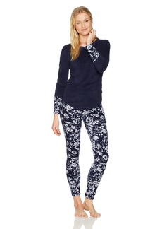 Lucky Brand Women's Printed Microfleece Pajama Set  L