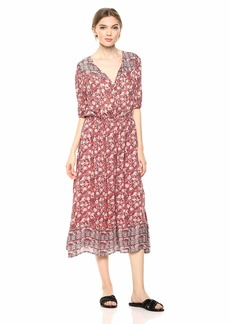 Lucky Brand Women's Printed Peasant Dress red Multi M