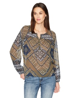 Lucky Brand Women's Printed Peasant Top in  M