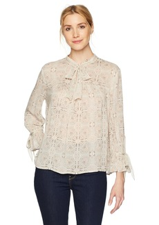 Lucky Brand Women's Printed Peasant Top  L