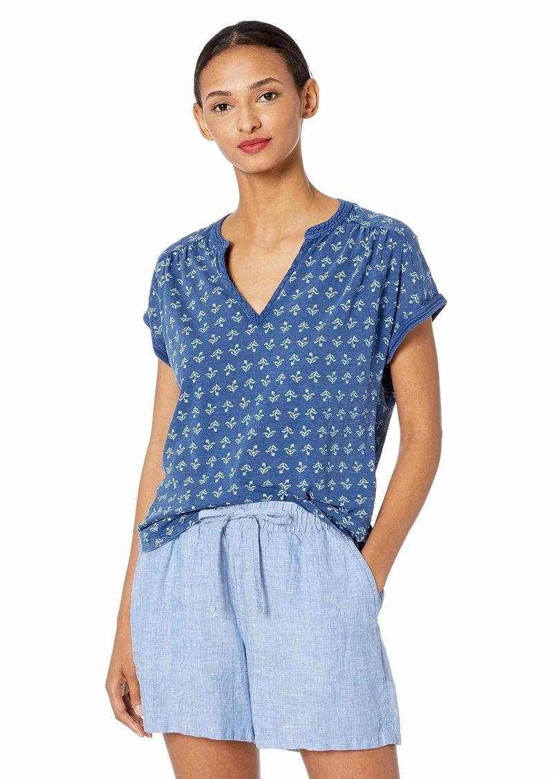 Lucky Brand Women's Printed Sleeveless Notch Neck Shirt  S
