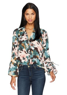 Lucky Brand Women's Printed Tie Sleeve Blouse  XS