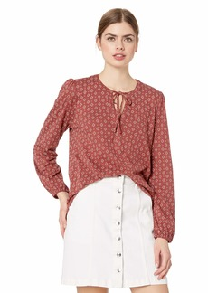 Lucky Brand Women's Printed TOP with Tassles  XL