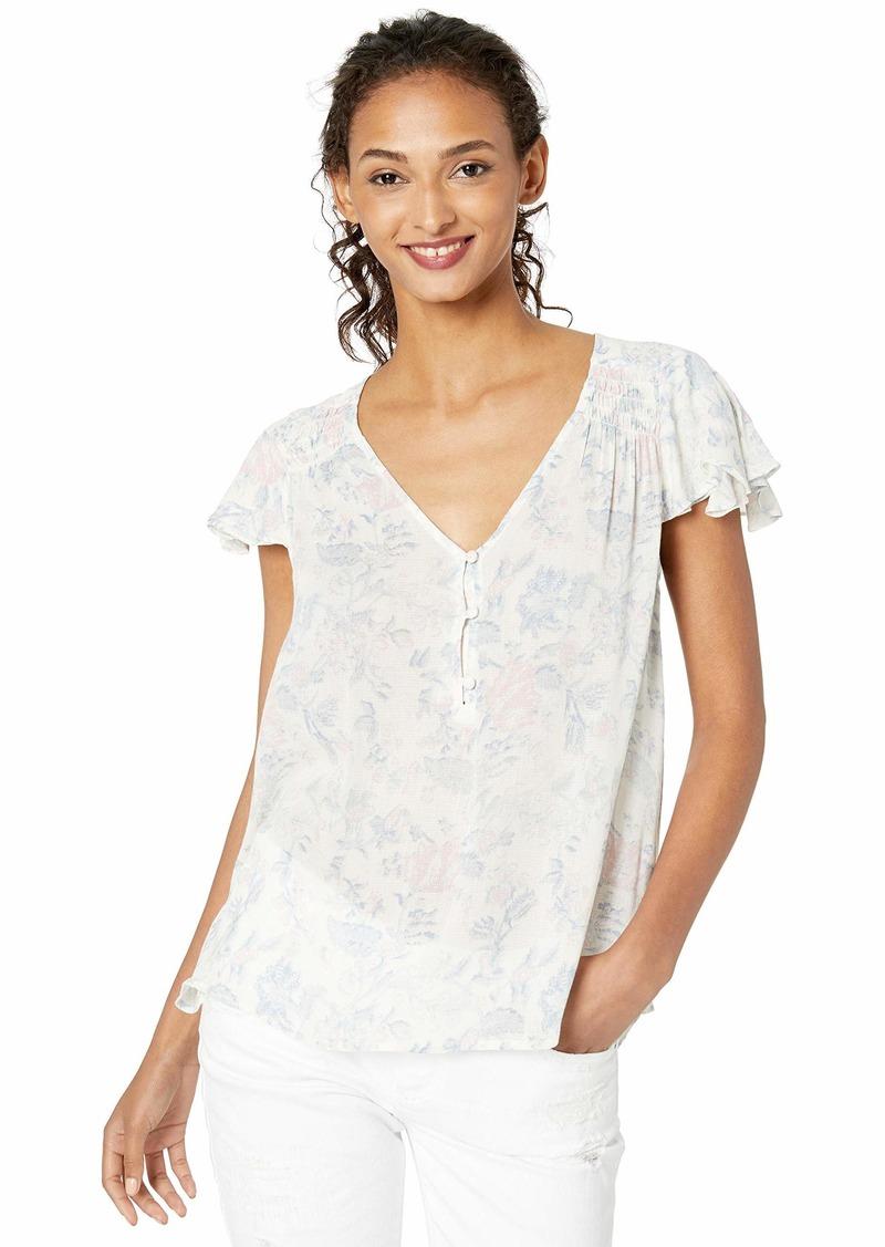 Lucky Brand Women's Printed V Neck Flutter Sleeve Shirt  L