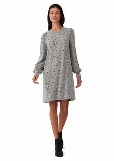 Lucky Brand Women's Puff Sleeve Crew Neck Knit Printed Dress  L