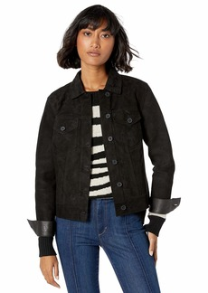 Lucky Brand Women's Reversible Suede Trucker Jacket  XL