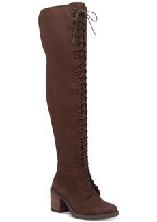 Lucky Brand Women's Riddick Lace-Up Over-The-Knee Boots Women's Shoes