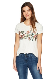 Lucky Brand Women's Rose Embroidered TEE  L