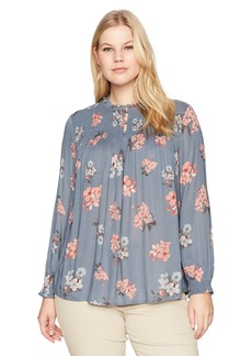 Lucky Brand Women's Rouched High Neck Plus-Size Blouse