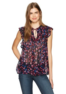 Lucky Brand Women's Ruffle Floral Top
