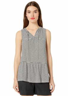 Lucky Brand Women's Ruffle Stripe Tunic Black S