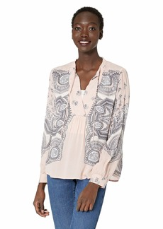 Lucky Brand Women's Scarf Paisley Popover Peasant TOP  M