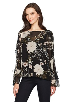 Lucky Brand Women's Scoop Back Ruffle Top  L