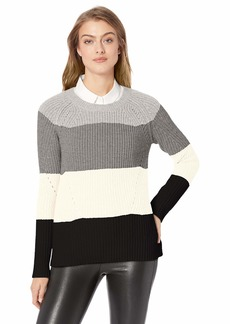 Lucky Brand Women's Scoop Neck Pointelle Sweater  M