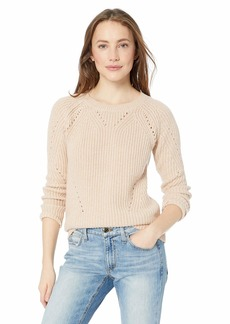 Lucky Brand Women's Scoop Neck Solid Pointelle Sweater  S