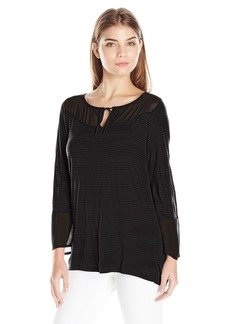 Lucky Brand Women's Seamed Mix Top  Small