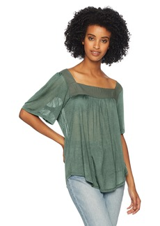 Lucky Brand Women's Shadow Stripe Solid Peasant TOP  XS