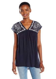 Lucky Brand Women's Sheer Yoke Embroidered Top  Large