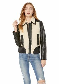 Lucky Brand Women's Sherpa Leather Jacket  M