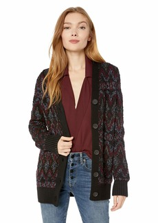 Lucky Brand Women's Shine Fairisle Cardigan Sweater  L