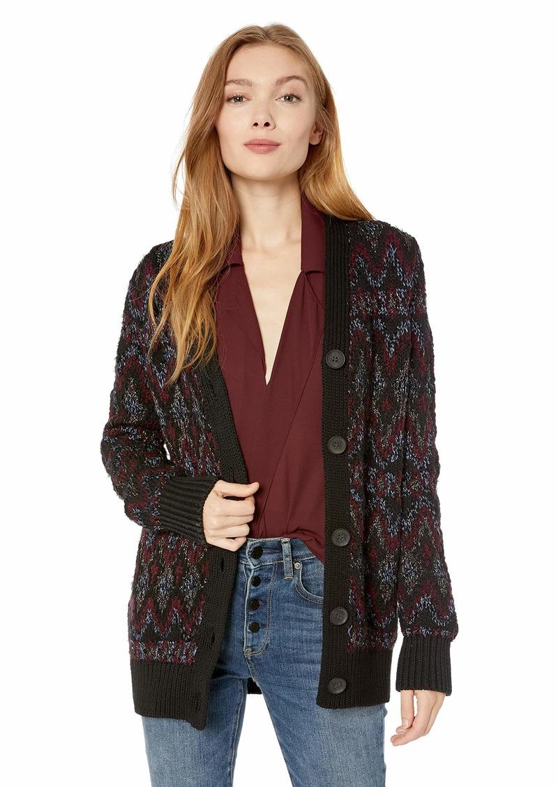 Lucky Brand Women's Shine Fairisle Cardigan Sweater  L