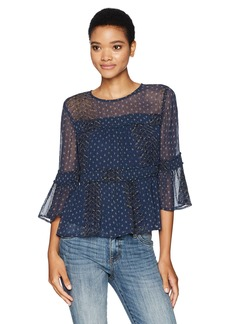 Lucky Brand Women's Shirred Peasant Top