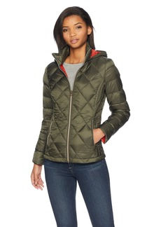 Lucky Brand Women's Short Packable Down Coat with Quilt Detail ARMGN SM