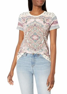 Lucky Brand Women's Short Sleeve Crew Neck Allover Floral Paisley Tee  S