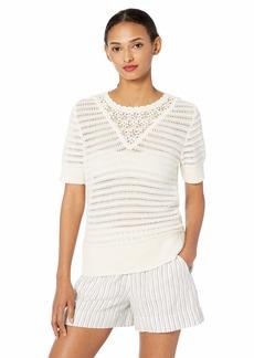 Lucky Brand Women's Short Sleeve Crochet Sweater  XL