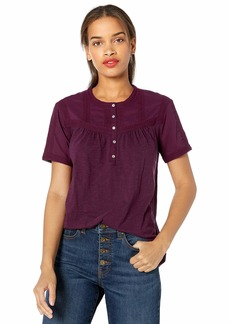 Lucky Brand Women's Short Sleeve Henley TOP with Trim  S