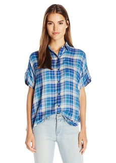 Lucky Brand Women's Short Sleeve Plaid in Shirt  X-Large