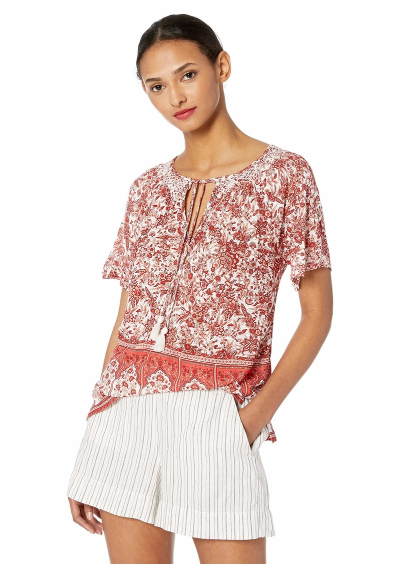 Lucky Brand Women's Short Sleeve Printed TOP  M
