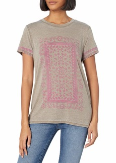 Lucky Brand Women's Short Sleeve Scoop Neck Paisley Frame Tee
