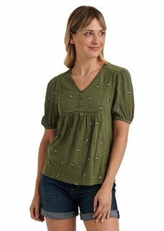 Lucky Brand Women's Short Sleeve V Neck Allover Embroidered Peasant Top  L