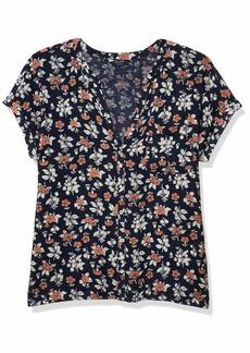 Lucky Brand Women's Short Sleeve V Neck Button Up Woven Mix Top  XL