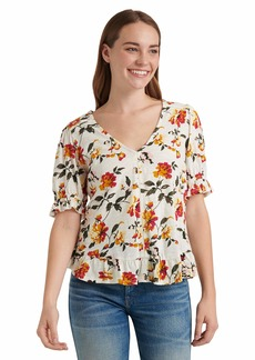 Lucky Brand Women's Short Sleeve V Neck Floral Peasant Top  XL