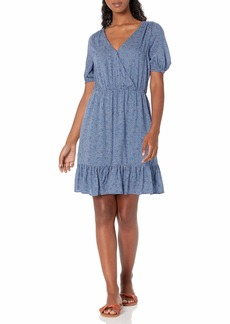 Lucky Brand Women's Short Sleeve V-Neck Polka Dot Mila Wrap Dress  XL