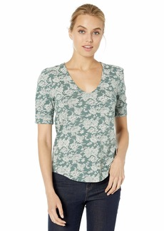 Lucky Brand Women's Short Sleeve V-Neck TOP  L