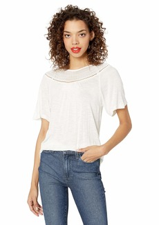 Lucky Brand Women's Short Sleeve Woven Mix Embroidered TOP  XS